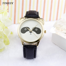 2017 Fashion Women Watch Neutral Diamond Lovely Panda Face Faux Leather Quartz Watch Female High Quality Free Shipping,Dec 9