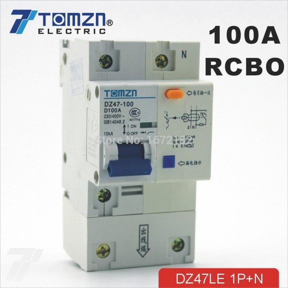 DZ47LE 1 P + N 100A di tipo D 230 V/400 V ~ 50 HZ/60 HZ Residuo con oltre RCBO protezione corrente e di DispersioneDZ47LE 1 P + N 100A di tipo D 230 V/400 V ~ 50 HZ/60 HZ Residuo con oltre RCBO protezione corrente e di Dispersione