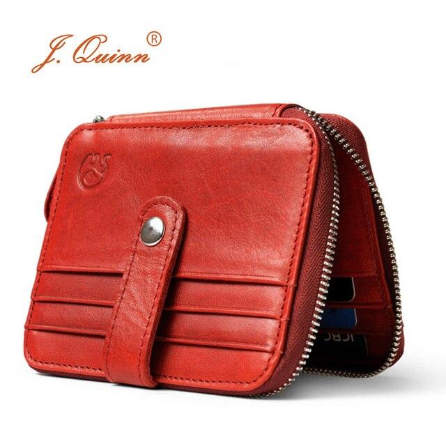 US $19 98 |J Quinn 2017 Women Leather Wallet Thin Zip Around Burgundy  Genuine Oil Wax Men Bifold Vintage Short Wallets 12 Mens Cards Holder-in  Wallets