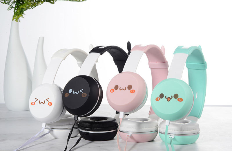 Funny Stereo Headphones Children Adult Music Headset Cartoon 3D Grass Head  Headphones 3.5MM Music Headset For iPhone Xiaomi PC
