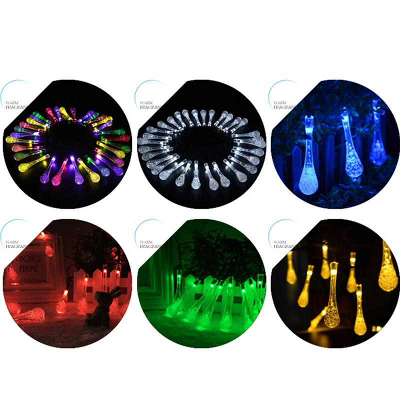 6.5M 30 LED Solar String Lights Water Drop Decorative Lights for Tree Gardern Wedding Party Decoration