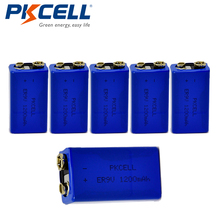 6PCS PKCELL ER9V Battery 1200mAh 9V Li-SOCl2 Lithium Batteries Bateria Baterias For Alarm device
