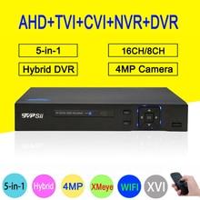 HI3531A xmeye 16CH/8CH 4MP Рекордеры для видеонаблюдения 5 в 1 WI-FI Гибридный коаксиальный ONVIF TVI CVI IP NVR AHD CCTV DVR Бесплатная доставка