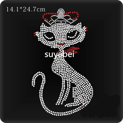 2pc lot lovely cat design stone applique hot fix rhinestones motif iron on rhinestones patches for shirt bag in Rhinestones from Home Garden