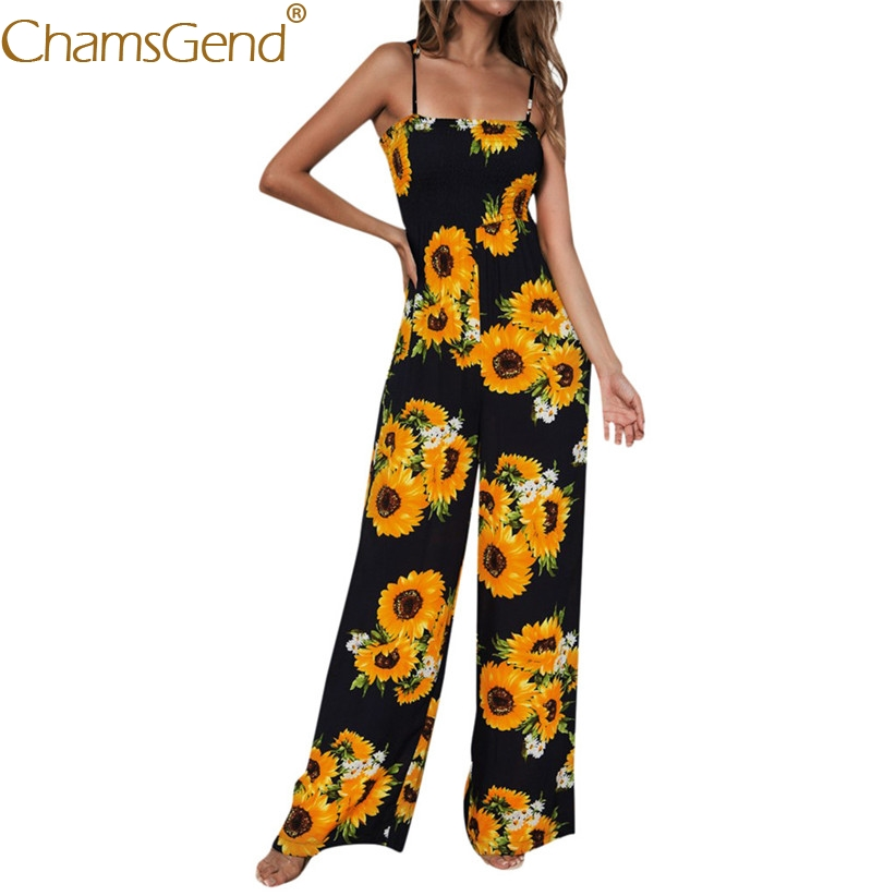 Women Fashion Sunflowers Print Strappy Wide Leg   Jumpsuits   Summer Beach Party Tops Woman Sleeveless Camis Playsuit Rompers 90527