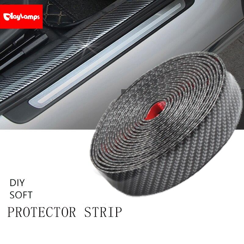 DIY Carbon Fiber Auto-verschleißplatten-türeinstiegsleisten Abdeckung Panel Schritt Schutz Auto Stoßstange Grills Anti-kollision dekorative streifen