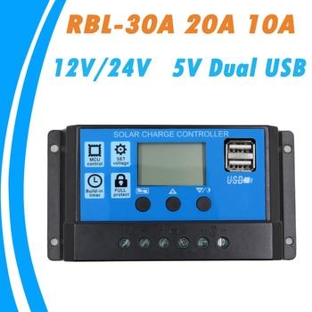24 В 12 В Авто солнечные панели контроллера заряда батареи 30A 20A 10A ШИМ ЖК-дисплей Солнечный коллектор регулятор с Двойной выход USB