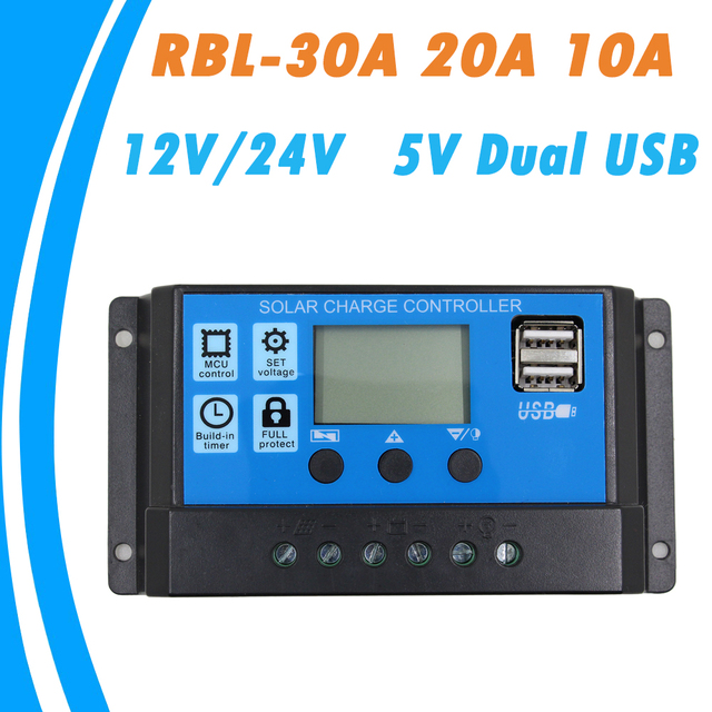 24V 12V Auto Solar Panel Battery Charge Controller 30A 20A 10A PWM LCD Display Solar Collector Regulator with Dual USB Output