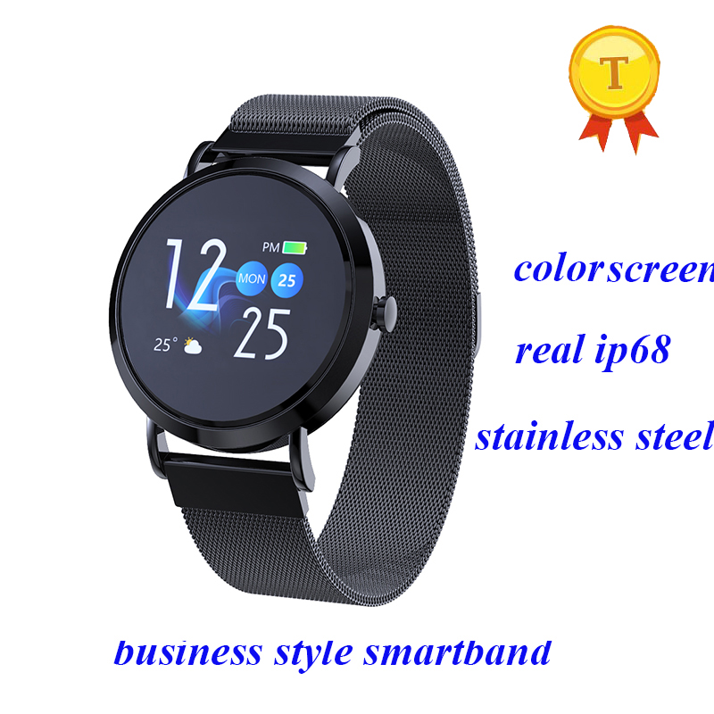 new business style Blood Pressure steel Smart Sport Band Heart Rate Fitness Tracker real Waterproof Clock swimming Smart Watch-in Smart Wristbands from Consumer Electronics    1