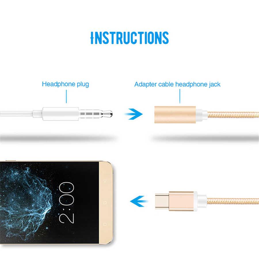 Olhveitra USB Tipe-C untuk 3.5 Mm Headphone Jack Aux Audio Kabel Adaptor untuk Samsung LG OnePlus Xiaomi Mi9 huawei Converter Earphone