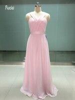 2017 Venta Caliente Barato Luz Blush Pink Gasa Larga Vestidos de dama de Honor para La Boda Una Línea de Vestido de Dama de Honor Vestido de Fiesta