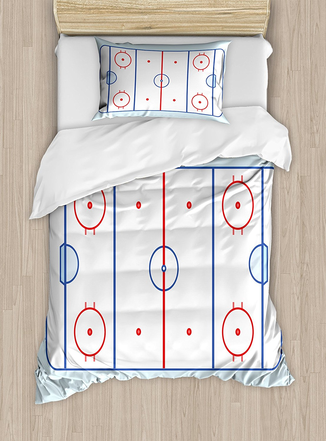 Hockey Duvet Cover Set Ice Hockey Field in Blue Tones and Red Graphic Outline for Sport Events Decorative 4 Piece Bedding Set