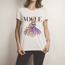 Showtly  VOGUE Fashion Women Print T Shirt Casual Simple Super Soft Cotton Tee Tops Hot Summer Girl Short Sleeve