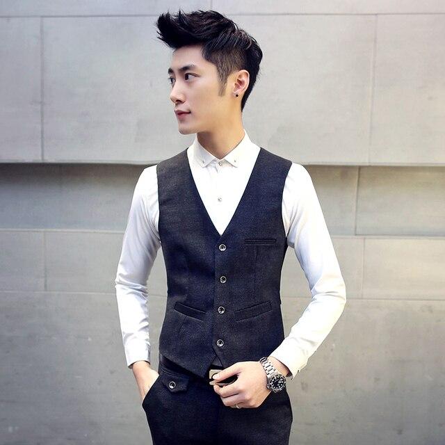 Autumn men's suit vest 2017 new Slim fashion men party casual dress formal business uniforms high quality Plus the size TZ04