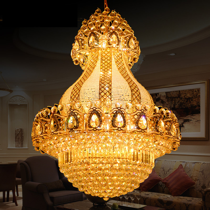 New Luxury Large K9 Gold Crystal Chandelier Lustre Led Modern Chandelier Lighting Living Room Lobby Hotel Engineering Lamps k9 puppy gold