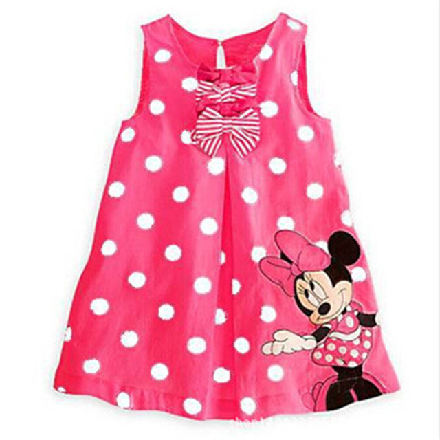 e70e7f0517d Cartoon Minnie Mouse Sleeveless Baby Dresses Casual Party Cotton Clothing  2018 New Summer Cute Dot Children s Dress Red Pink