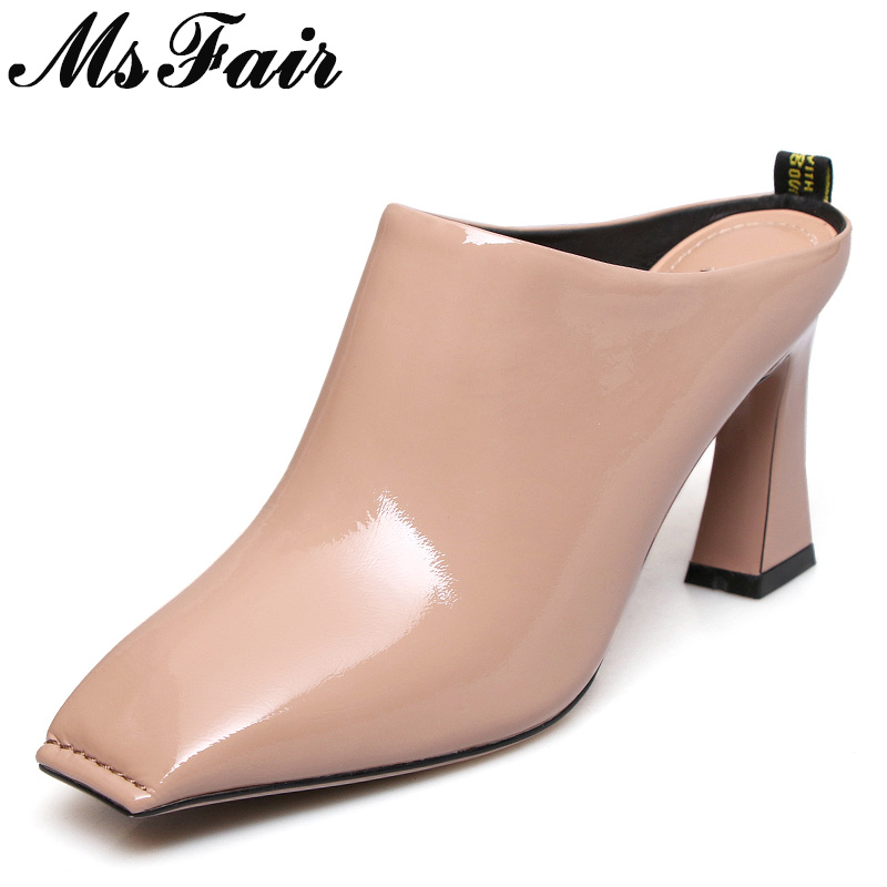 MSFAIR Square Toe Square heel Women Pumps Casual Fashion Ladies High Heels Pumps 2018 Spring Sewing Women High Heel Shoes Pumps msfair pointed toe high heels women pumps sexy genuine leather square heel pumps women shoes zapatos mujer high heel pumps s