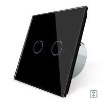 Comprar 2017 estándar europeo, OS-02W-2, interruptor de cortina de panel de cristal negro, Gangs 1 Way, interruptor de pantalla táctil de pared
