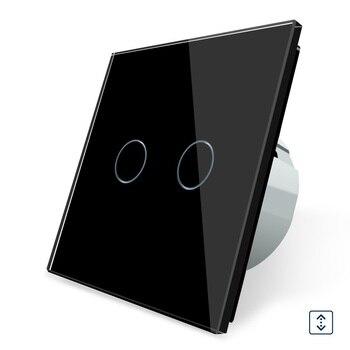 2017 estándar europeo, OS-02W-2, interruptor de cortina de panel de cristal negro, Gangs 1 Way, interruptor de pantalla táctil de pared