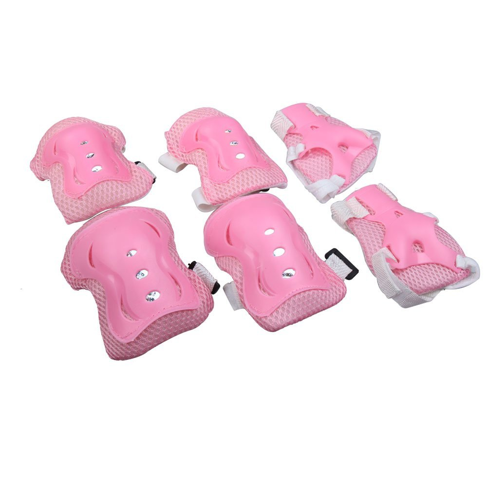 6Pcs Kids Cycling Roller Skating Set Pink Knee Elbow Wrist Protective Pads (Pink)