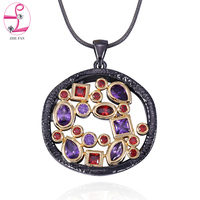 ZHE FAN AAA Cubic Zirconia Fashion Unique Necklace Women Men Jewelry Black Gold Color Two Tone