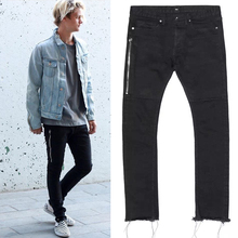 men designer clothes Ankle-Length Pants slp rock 424 FourTwoFour RAW EDGES Black Denim pants rockstar skinny jeans 30-36 size