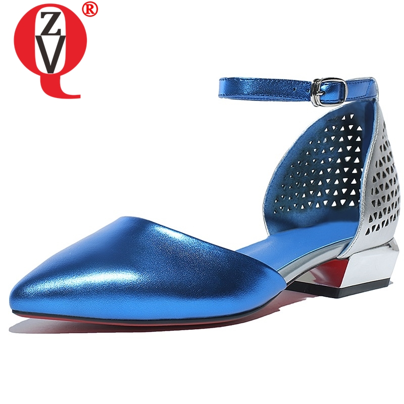 ZVQ High quality leather women shoes Summer cute girl openwork Ankle strap sandals blue solid plus