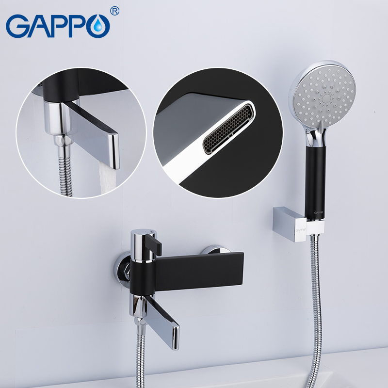 Permalink to GAPPO Sanitary Ware Suite do anheiro taps black and chrome wall mounted shower faucet brass bathroom rainfall shower bathtub
