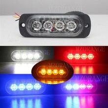 Автомобиль-Стайлинг 12 В 4 мигающий светодиод Предупреждение светло-янтарный красные, синие мерцающий решетка мигающий световой ультра-тонкие грузовик автомобиль лампа загорается