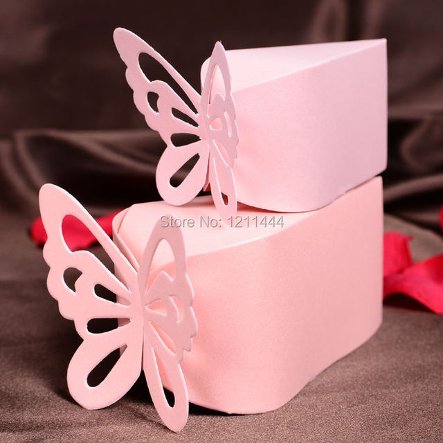 Large Size 50pcslot Butterfly Decorative Cake Shape Candy Boxes