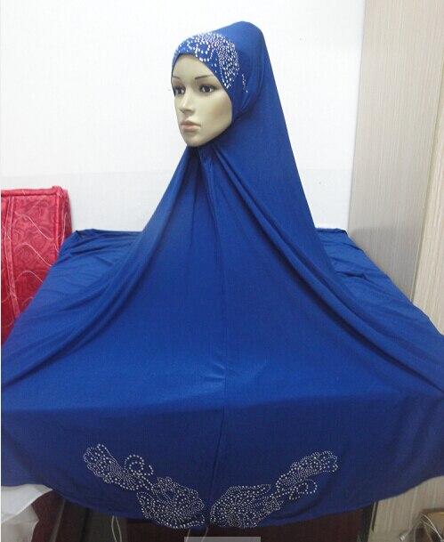 H460 latest big size pray hijab with rhinestones,long ...
