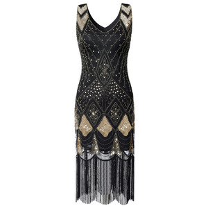 Image 4 - Vintage Women Plus Size Great Gatsby Dress Sleeveless V Neck 1920s Flapper Dress Cocktail Party Fringed Sequin Dress for Party