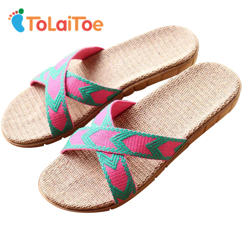 ToLaiToe National Cool Linen Home Indoor Slipper Female Summer Cool Non-slip Floor Slippers Men's Silent Sweat Breathable Shoes tolaitoe autumn