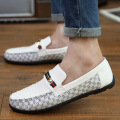 British White Leather Shoes Fashion Business Luxury Mens Loafers Mocassim Masculino Casual Slip On Flats Shoes NSX49