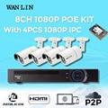 Lin wan poe 8ch nvr com 4 pcs sony imx323 ao ar livre 1080 p full hd de 2.0mp poe ip câmeras de segurança poe sistema