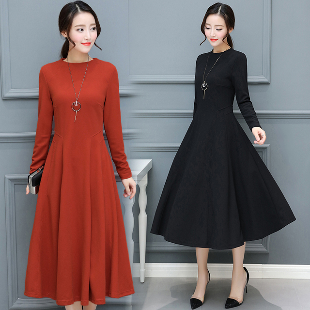 2018 Autumn Winter New Plus Size Vintage Black Midi Dresses Women Bodycon  Sexy Solid Maxi Dress 2f79b48ce