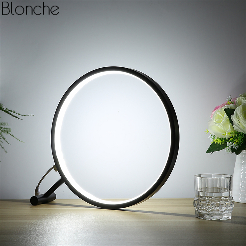 Modern Round Led Desk Lamp Magnifier Table Lights Reading Lamp for Living Room Bedroom Bedside Study Home Light Fixtures Decor цена