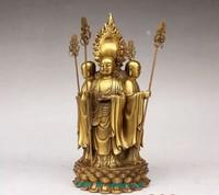 Chinese bronze 4 face Ksitigarbha buddha statue Figure 8.5H vases sculpture, Garden Decoration Brass Bronze