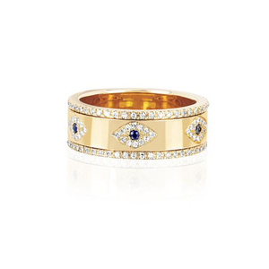 engraved cz evil eye gold wide engagement band rings for lady women party gift finger jewelry classic antique ring(China)