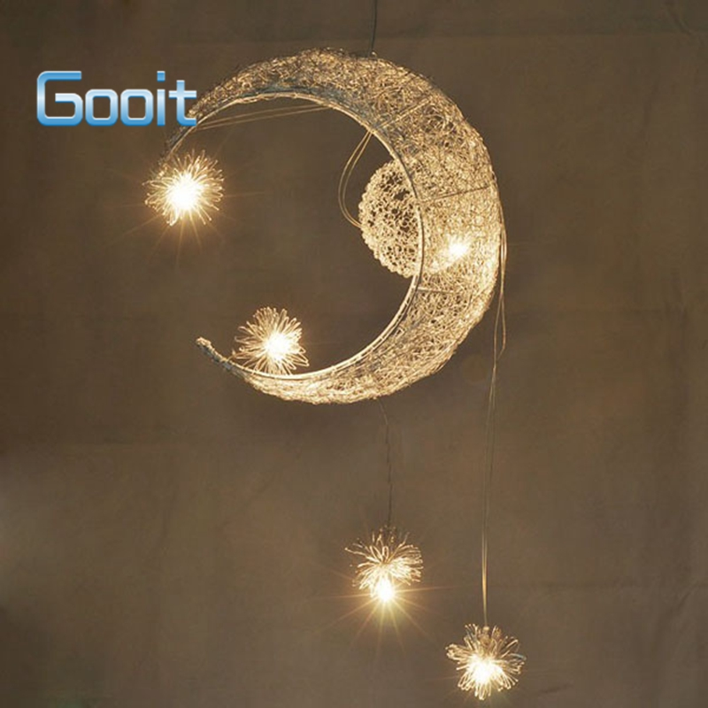 Moon Star Featured Pendant Lamps with 5 Lights G4 Lighting Aluminium Wire Chandeliers blubs EMS free shipping moon flac jeans