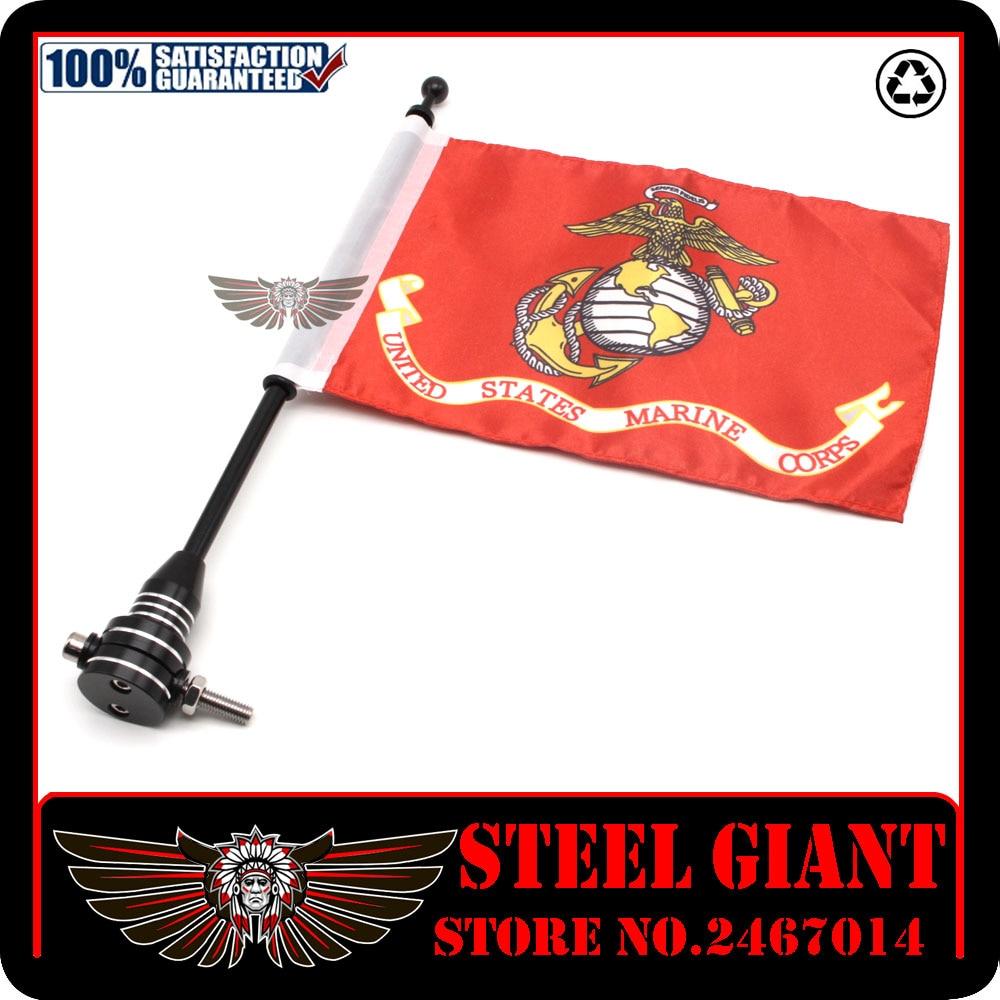 Motocycle CNC Aluminum Rear Side Mount Luggage Rack Vertical Flag Pole American Pro Pad Marine Corps Motorcycle Flag