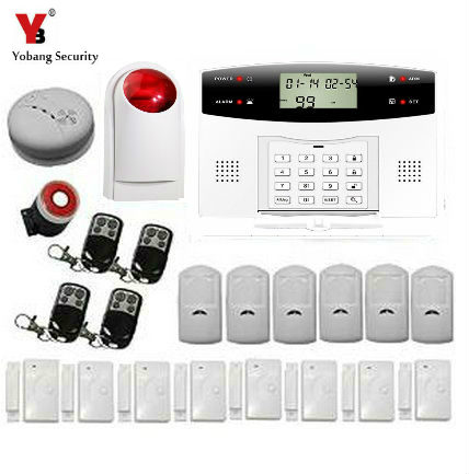 YobangSecurity Wireless GSM SMS Security Home Surveillance Alarm System With Wireless Siren Smoke Fire Detector Sensor independent gsm sms smoke detector sensor fire alarm system gsm calling phone smoke alarm