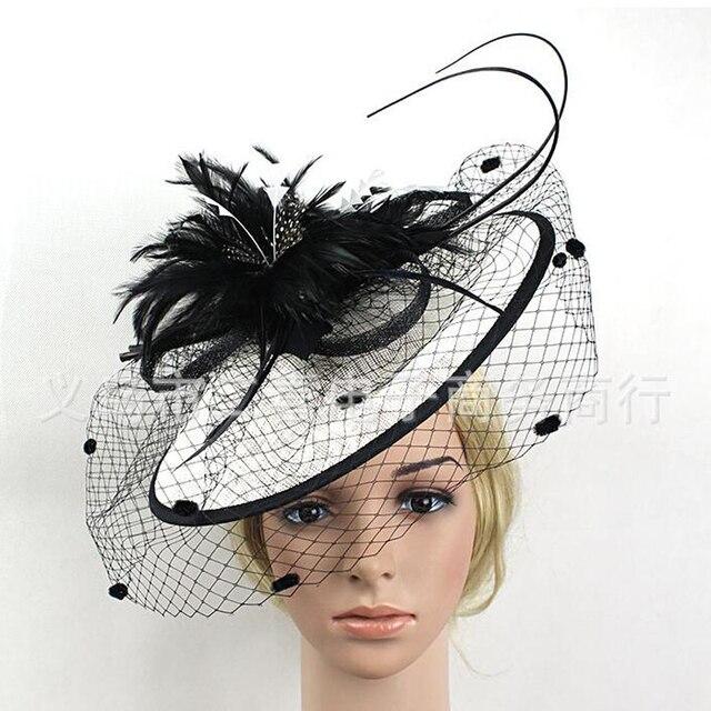 2017 Caliente de Plumas Elegantes Mujeres Del Partido de Tarde de Tul Hat Sombreros de Boda Formal Del Partido Sombrero Sombreros de Novia de La Madre de Noche Formal