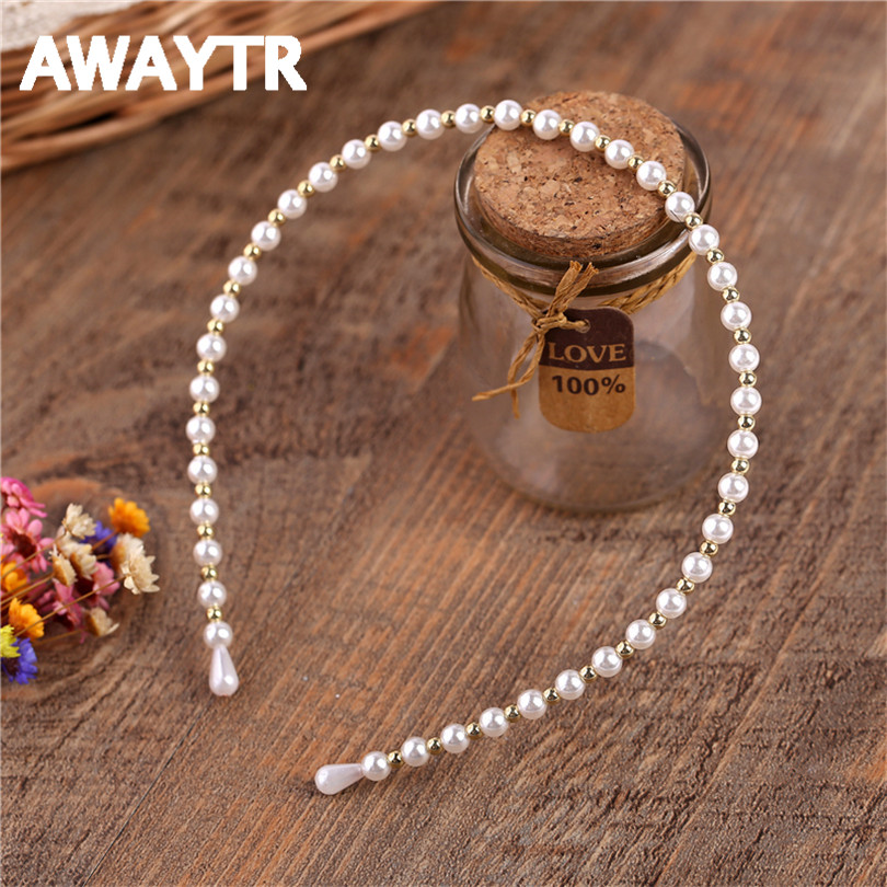 AWAYTR 1Pcs /lot Romantic Wedding Pearl HairBands Hair Accessories For Woman Fashion Elastic White Solid Jewelry Tiara Gift