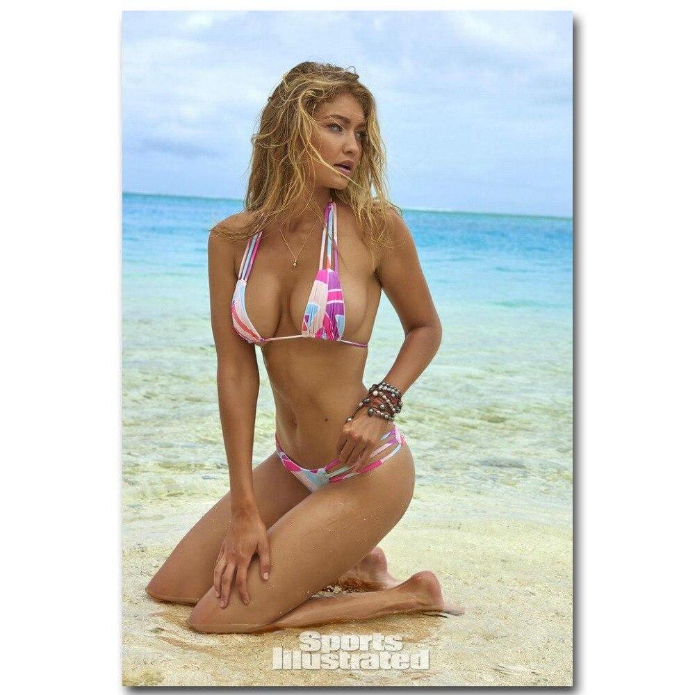 0833A Gigi Hadid At Beach Hot Sexy Model Girls-Wall Sticker Silk Poster Light Canvas Decoration