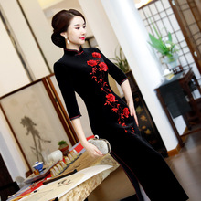 2018 Winter Long Cheongsam Chinese style Dress Womens Velour Qipao Slim Party Dresses New Lady Button Vestido Plus Size S-4XL