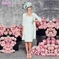 Mãe dos Vestidos de Noiva Chiffon Calças Terno Do Casamento Com Jacket Três Quartos Mangas Mulheres Vestido Na Altura Do Joelho Plus Size