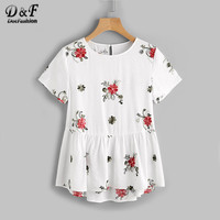 Dotfashion Flower Embroidered Keyhole Back Smock Top Ladies White Short Sleeve Casual Blouse Summer Button Tiered