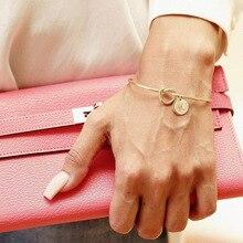 Модные розовые, золотые, серебряные браслеты-манжеты MESTILO С Завязанными узлами и 26 буквами, женские браслеты с брелоками