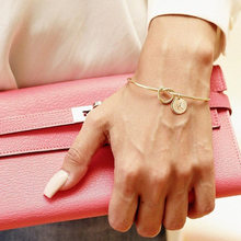 MESTILO Trendy Tie knotted Open Cuff Bangle Rose Gold Sliver Coin 26 Letters Initial Charm Bracelets Wire Love Bangles For Women(China)